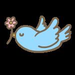 花を運ぶ小鳥
