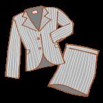 グレーストライプのスカートスーツ