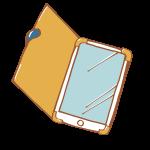 見開き型ケースに入ったスマートフォン