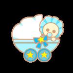 ベビーカーと赤ちゃん(青)