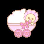 ベビーカーと赤ちゃん(ピンク)