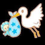 コウノトリと赤ちゃん(青)