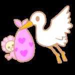 コウノトリと赤ちゃん(ピンク)