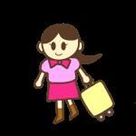 旅行カバンを持った女性
