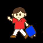 旅行カバンを持った男性