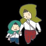 防空頭巾をかぶって逃げる母子