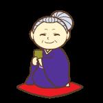 お茶を飲んでるおばあちゃん