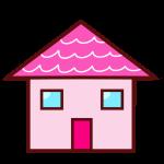 ピンク屋根の家