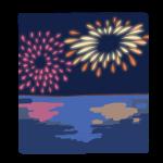 海面にうつる花火