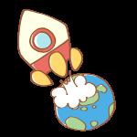 地球から飛び立つロケット