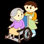 車いすのお婆さんと男性スタッフ