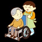 車いすのお爺さんと男性スタッフ(笑顔)