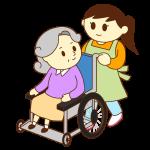 車いすのお婆さんと女性スタッフ