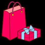 ピンクのショップバッグとラッピングされた箱