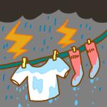 どしゃぶりの日の洗濯