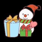 プレゼントと雪だるま